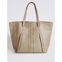Faux Leather Shopper Bag grey
