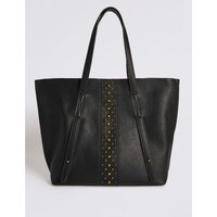 Faux Leather Shopper Bag black