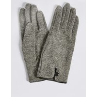 Wool Rich Button Loop Gloves natural mix