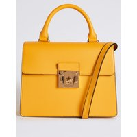 Faux Leather Top Handle Tote Bag yellow