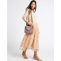 Faux Leather Chain Shoulder Bag nude