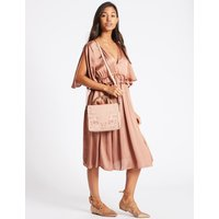 Faux Leather Metal Top Handle Shoulder Bag nude mix