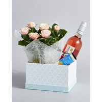 Rose Wine, Rose Plant & Swiss Chocolates Hamper