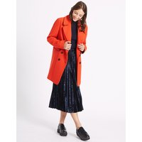 M&S Collection Wool Blend Contrasting Edge Peacoat
