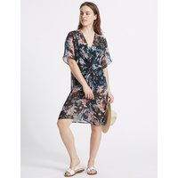 M&S Collection Floral Printed Knot Front Kaftan