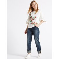 M&S Collection PETITE Mid Rise Relaxed Slim Jeans