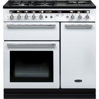RANGEMASTER Hi-Lite 90 Dual Fuel Range Cooker - White & Chrome, White