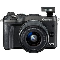CANON EOS M6 Mirrorless Camera with 15-45 mm f/3.5-6.3 Wide-angle Zoom Lens - Black, Black