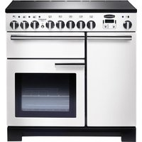 RANGEMASTER  Professional Deluxe 90 Electric Induction Range Cooker   White   Chrome  White