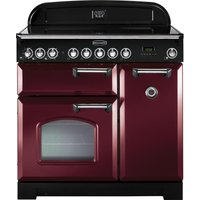 RANGEMASTER  Classic Deluxe 90 Electric Induction Range Cooker   Cranberry   Chrome  Cranberry