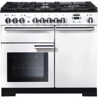 RANGEMASTER  Professional Deluxe 100 Dual Fuel Range Cooker   White   Chrome  White