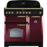 RANGEMASTER  Classic Deluxe 90 Electric Induction Range Cooker   Cranberry   Brass  Cranberry