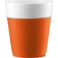 BODUM Bistro Porcelain Mug with Silicone Band - Orange, Pack of 2, Orange