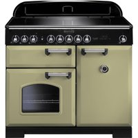 RANGEMASTER  Classic Deluxe 100 Electric Induction Range Cooker   Olive Green   Chrome  Olive