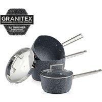 TOWER T90981 3-piece Granitex Saucepan Set - Granite Grey, Grey