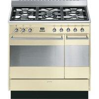 SMEG Concert 90 cm Dual Fuel Range Cooker - Cream & Stainless Steel, Stainless Steel