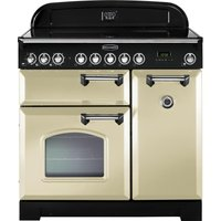 RANGEMASTER  Classic Deluxe 90 Electric Induction Range Cooker   Cream   Chrome  Cream