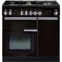RANGEMASTER  Professional 90 Dual Fuel Range Cooker   Black   Chrome  Black