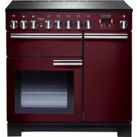 RANGEMASTER  Professional Deluxe 90 Electric Induction Range Cooker   Cranberry   Chrome  Cranberry