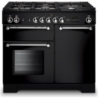 RANGEMASTER  Kitchener 100 Dual Fuel Range Cooker   Black   Chrome  Black