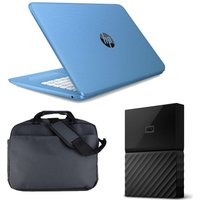 HP Stream 14-ax050sa 14 Laptop, 1 TB Portable Hard Drive & Laptop Case Bundle - Blue, Blue