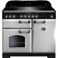 RANGEMASTER  Classic Deluxe 100 Electric Induction Range Cooker   Royal Pearl   Chrome