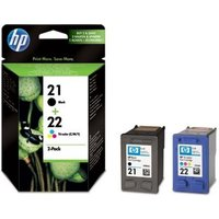 HP 21/22 Tri-colour & Black Ink Cartridges - Twin Pack, Black