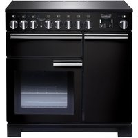 RANGEMASTER  Professional Deluxe 90 Electric Induction Range Cooker   Black   Chrome  Black