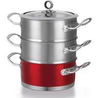 MORPHY RICHARDS 46381 18 cm 3-Tier Steamer - Red, Red