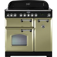RANGEMASTER  Classic Deluxe 90 Electric Ceramic Range Cooker   Olive Green   Chrome  Olive