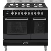 BRITANNIA Q Line 90 Twin Dual Fuel Range Cooker - Gloss Black & Stainless Steel, Stainless Steel