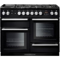 RANGEMASTER Nexus 110 Dual Fuel Range Cooker - Black & Chrome, Black