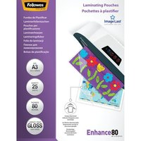 FELLOWES Enhance 80 Micron A3 Laminating Pouches - 25 Pack