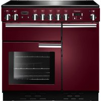 RANGEMASTER  Professional 90 Electric Ceramic Range Cooker   Cranberry   Chrome  Cranberry