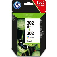 HP Combo 302 Tri-colour & Black Ink Cartridges - Multipack, Black