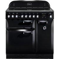 RANGEMASTER  Elan 90 Electric Induction Range Cooker   Black   Chrome  Black