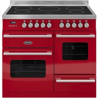 BRITANNIA Delphi 100 XG Electric Induction Range Cooker - Gloss Red & Stainless Steel, Stainless Steel