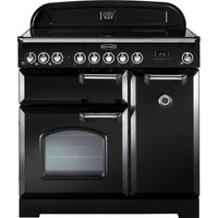 RANGEMASTER  Classic Deluxe 90 Electric Range Cooker   Black   Chrome  Black