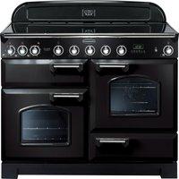RANGEMASTER Classic Deluxe 110 Electric Induction Range Cooker - Black & Chrome, Black