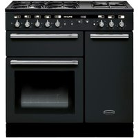 RANGEMASTER Hi-Lite 90 Dual Fuel Range Cooker - Black & Chrome, Black
