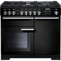 RANGEMASTER  Professional Deluxe 100 Dual Fuel Range Cooker   Black   Chrome  Black