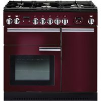RANGEMASTER Professional 90 Gas Range Cooker - Cranberry & Chrome, Cranberry