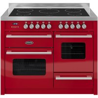 BRITANNIA Delphi 110 RC11XGIDERED Electric Induction Range Cooker - Gloss Red & Stainless Steel, Stainless Steel
