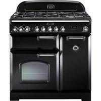 RANGEMASTER Classic Deluxe 90 Dual Fuel Range Cooker - Black & Chrome, Black