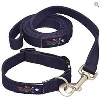 Tottie Dog Collar and Lead Set - Size: M - Colour: Navy