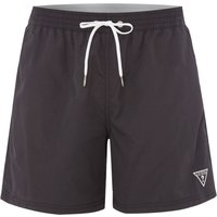 Men's Guess Mid Length Logo Swim Shorts, Black