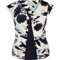 Chesca Floral Print Camisole with Navy Trim, White