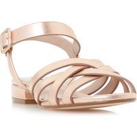 Dune Insley woven strap low block sandals, Rose Gold