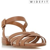 Dune INSLEY WIDE FIT WOVEN STRAP LOW BLOCK SANDALS, Tan