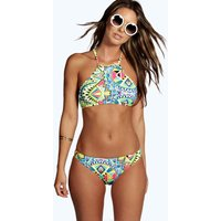 Boutique Geo Halter Crop Bikini - multi